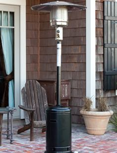 WT Living Black Powder Coated Standard Patio Heater by Well Traveled  Living. $241.00. Our Black Powder Coated Standard Patio Heater is the perfect way to extend your backyard entertaining season. This sturdy unit produces 46,000 BTU's using a standard 20 lb. propane tank and has wheels for easy mobility. The stylish black color perfectly accents and enhances your patio décor. This handsome CSA approved patio heater includes a tip over protection safety feature. 46,000 BTU's. ...
