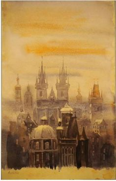 Watercolor Prague in fog : price 20 thousand euros.    by Adolf Hitler  Akvarel Praha v hmle: 20-tisíc eur.