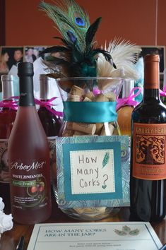 Bridal Shower game - how many corks?  I want this near the sign in for the shower. One end of the table has the corks, then the Cork E, last will be the guest names / cork guess / Please leave blank (this will be for my mom to put the gifts down)