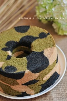 Army camouflage cake with red white and blue icing..... Veterans Day is coming up