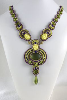 Soutache+Necklace++++Shades+of+Olive++/+olive+by+BeadsRainbow