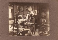Frederic Remington sculpting The Buffalo Horse    1918.76.160.67   The artist in his studio. This photograph belonged to Frederic Remington www.fredericremington.org Ogdensburg, NY