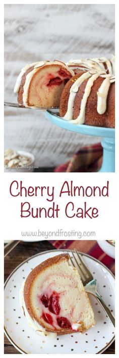 Sink your teeth into this Cherry Almond Bundt Cake. The dense almond pound cake is filled with a cherry pie filling and topped with a cream cheese glaze.
