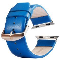[$9.63] Kakapi Subtle Texture Brushed Buckle Genuine Leather Watchband with Connector for Apple Watch 42mm(Blue)