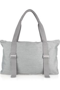 Adidas by Stella McCartney Yoga bag: light-gray canvas, two woven handles with adjustable designer-stamped buckles, internal zip-fastening pocket, designer plaque, silver hardware, fully lined. Zip fastening across top.
