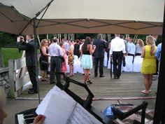 Wedding at the Railroad Museum in Dayton OH up in the air on an old Railroad Bridge.