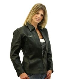 Ladies Tapered Scooter Leather Biker Jacket