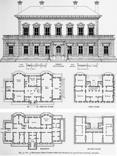 15 Kensington Palace Gardens before the alterations of front elevation and plans. The Crown estate in Kensington Palace Gardens: Individual buildings Architecture Classique, Architecture Old, Architecture Drawings, Classical Architecture, Historical Architecture, Kensington Palace Gardens, Crown Estate, Architectural Floor Plans, Vintage House Plans