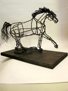 Feeding Time Recycled wire horse sculpture      NEW by Ponyart, $165.00