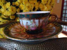 linda e antiga xícara p/ café alemã bavaria cenas e ouro !!