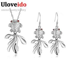 Find More Jewelry Sets Information about Jewerly Sets for Women 925 Sterling Silver Necklace Earrings Cute Fishing Shape Red Stone Wedding Decoration Ulove T045 Haixu,High Quality set 3 candle holders,China set cards Suppliers, Cheap set of wedding ring from ULOVE Fashion Jewelry on Aliexpress.com