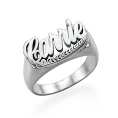 Sterling Silver Name Ring (as Buffy is wearing a ring on her left hand). $69.95