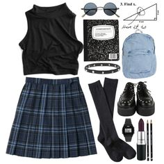 Grunge School Girl by child-of-the-tropics on Polyvore featuring mode, Xhilaration, American Apparel, Luis Morais, Casio, school, grunge and tartan