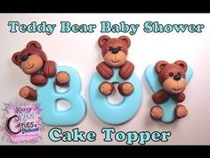 How To Make A Teddy Bear Baby Shower Cake Topper: Virtual Baby Shower Collaboration by laurapoopie of krazy kool cakvideo comes in 2 parts
