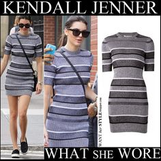 Kendall Jenner in grey striped rib knit mini dress by Alexander Wang