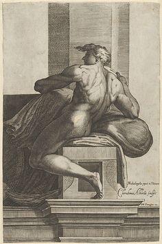 A naked man (Ignudo), seated and facing left, after Michelangelo's fresco in the Sistine Chapel, Cherubino Alberti (Zaccaria Mattia) (Italian, Borgo Sansepolcro 1553–1615 Rome)
