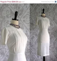 Early 60s White Cotton Pintucked and Embroidered Fitted Dress $68.00