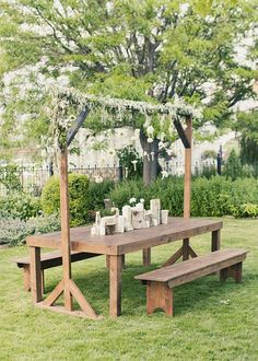 Outdoor table with a decorative frame.