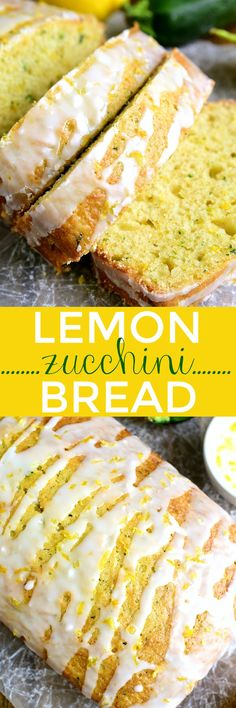This Lemon Zucchini Bread combines two favorites in one delicious loaf of bread! Topped with a sweet lemony glaze its a great way to sneak in extra veggies and the BEST way to wake up! This Lemon Zucchini Bread combines two. Lemon Zucchini Bread, Zucchini Bread Recipes, Zucchini Bread Muffins, Lemon Loaf, Zucchini Cookies, Orange Zucchini Bread Recipe, Zuchinni Desserts, Courgette Bread, Desert Recipes