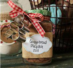 Gingerbread play dough gift http://moneysavingmom.com/2011/12/homemade-gingerbread-playdough-playdough-mats.html#