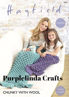 Mermaid tail crochet pattern from Sirdar made in Hayfield Chunky with Wool crocheted using a 6 and crochet hook Sizes Age years to Crochet Mermaid Tail Pattern, Mermaid Blanket Pattern, Mermaid Tail Blanket, Chunky Crochet, Chunky Yarn, Knit Crochet, Crochet Blanket Patterns, Baby Knitting Patterns, Crochet Ideas