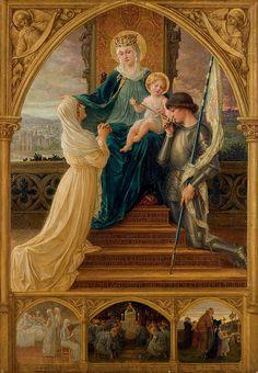 """Elisabeth Sonrel (French, 1874 - 1953), """"Vierge à l'Enfant, entre Sainte Geneviève et Sainte Jeanne d'Arc"""""""