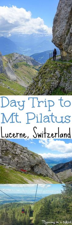 How to do a Day Trip to Mt. Pilatus near Lucerne, Switzerland. A travel adventure in the Swiss Alps that starts on a steamboat ferry over a lake, up the steepest cogwheel train in the world and then hiking.  To get down Mount Pilatus you take a beautiful gondola ride.  A bucket list destination Europe and the one of the best things to do in Central Switzerland.... beautiful views! / Running in a Skirt
