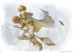 """Pass that Quaffle already, Scamander!"" ""Wait - was that – a Jobberknoll?!""  Newt Scamander being unhelpful at Quidditch.  by Jenny Dolfen Illustration"