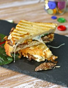 Caramelized Onion, Steak and Swiss Chard Panini