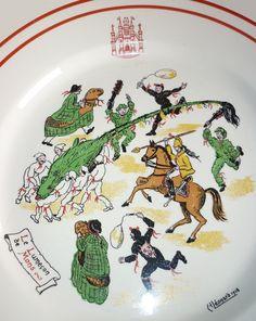 Doudou de Mons le combat Lumeçon. Dessin d'assiette, Boch Keramis, 1938