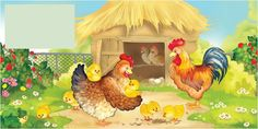 cartoon chicken coops and hens for kids Farm Animals, Animals And Pets, Cartoon Chicken, Mother Art, Stories For Kids, Hens, Cute Pictures, Rooster, Birds