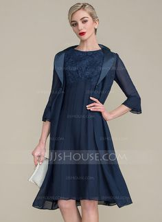 [US$ 109.99] A-Line/Princess Scoop Neck Knee-Length Chiffon Lace Mother of the Bride Dress With Ruffle