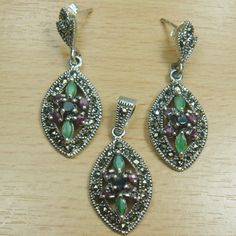 Genuine Ruby Emerald Sapphire Marcasite 925 Sterling Silver Jewelry Set