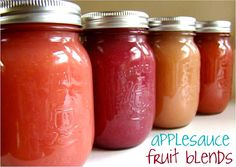 Family Feedbag: Applesauce fruit blends.  Recipes for peach. blueberry and strawberry applesauce. Canning as well as freezer storage information included #canning #preserving