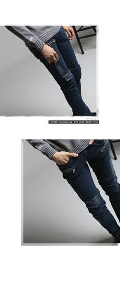 K-POP Men's Fashion Style Store [TOMSYTLE]  Blue Skinny PT zipper pocket / Size : S,M,L / Price : 65.23 USD #dailylook #dailyfashion #casuallook #bottom #pants #jeans #skinnyjean #unique #TOMSTYLE #OOTD  http://en.tomstyle.net/