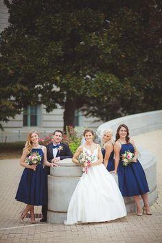 Navy bridesmaid dresses - tea-length bridesmaid dresses with square neckline - bridesman in black tux + blue bow tie {Petruzzo Photography}