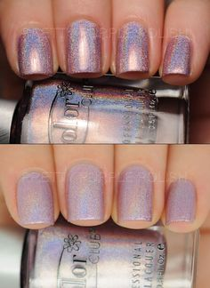 NAIL POLISH :: Color Club - Cloud Nine :: lilac linear holographic polish. 1st photo is under a regular lamp & 2nd photo is in a light box to show the base color. Cloud Nine has a strong holo effect that looks like it has a pink base in some lights & a purple in others.   #colorclub #holo #holographic #holopolish #prettypurplepolish