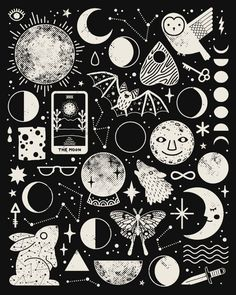 Lunar Pattern: Eclipse Artwork Print by Camille Chew - X-Small Witch Aesthetic, Aesthetic Black, Tumblr Wallpaper, Doodle Art, Magic Doodle, Art Inspo, Framed Art Prints, Art Drawings, Drawing Art
