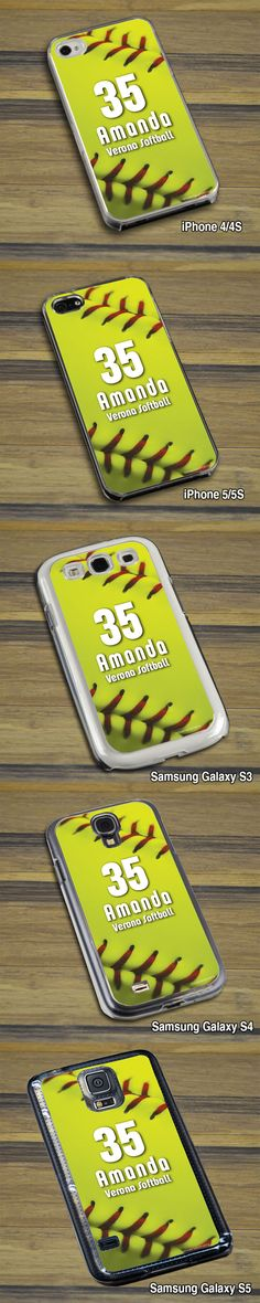 All of our awesome softball cell phone cases come in iPhone 4 and 5 (all models) and the Samsung Galaxy (S3/S4/S5)! This case features our softball stitches design. Customize any softball phone case today as a special softball gift!