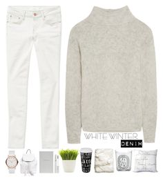 """On Trend: Winter White Denim"" by mycherryblossom ❤ liked on Polyvore featuring Frame Denim, H&M, Könitz, Diptyque, Surya, Dot & Bo, Marc by Marc Jacobs, Smythson, Lancôme and Rebecca Minkoff"