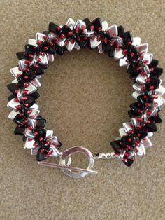 Black & Silver Triangle Bead Bracelet W/Red Toho Beads