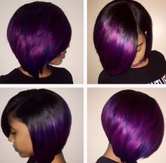 10 Women Rocking Gorgeous Hues Of Purple Hair Color Right Now Dope Hairstyles, Weave Hairstyles, Scene Hairstyles, Beautiful Hairstyles, Black Hairstyles, Hairstyle Ideas, Love Hair, Great Hair, Violett Hair