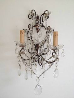 Pr 19thC Crystal Wall Lights