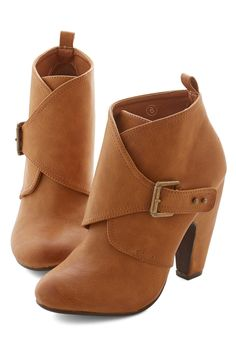 Brilliant Down the Block Bootie. When you step out in these cognac-hued ankle booties heads will turn to admire your smart style! #tan #modcloth