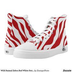 Wild Animal Zebra Red White Stripe Zizzago Printed Shoes