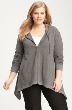 Eileen Fisher Asymmetrical Hooded Cardigan (Plus) | Nordstrom