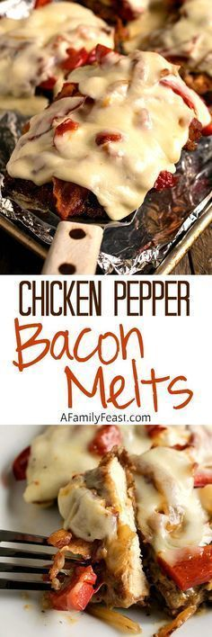 Chicken Pepper Bacon Melts - Tender fried chicken layered with roasted peppers, bacon and cheese! An easy, delicious weeknight meal.