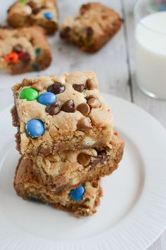 Loaded Cookie Bars - cookie bars filled with peanut butter chips, white chocolate chips, milk chocolate chips, and M&Ms!