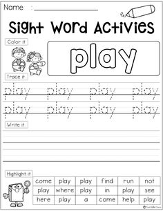 There are 41 pages of sight word first-grade in this packet. Students use a variety of skills with each practice page. They will learn to identify, read and write. This packet is perfect for kindergarten students who are learning the sight words. First Grade Freebies, Kindergarten Freebies, Kindergarten Teachers, Kindergarten Writing, Sight Word Worksheets, Sight Word Activities, School Worksheets, Free Worksheets, Letter Worksheets