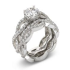 DiamonArt Sterling Silver Cubic Zirconia Bridal Ring Set Cubic